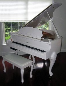 White Samick Player Piano Queen Anne Legs