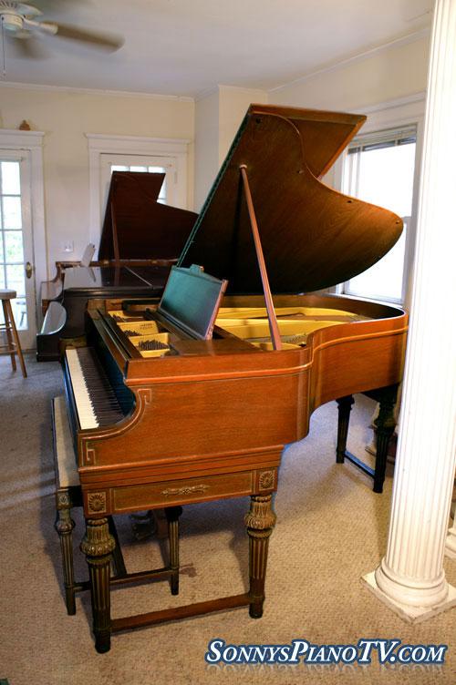 Art Case Chickering Baby Grand Piano Double Legs 4900