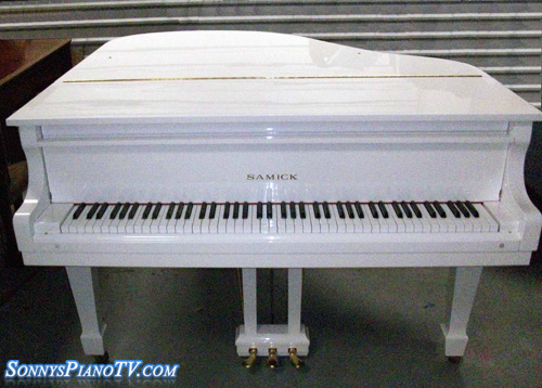 White Gloss Piano Baby Grand Samick Sonny S Pianos Used