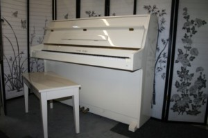 White Gloss Upright Console Piano Young Chang